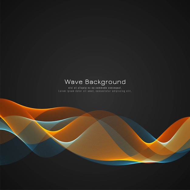 Modern colorful bright wave dark background Free Vector