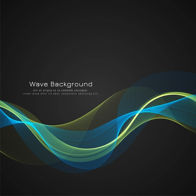 Modern colorful bright wave dark vector background Free Vector