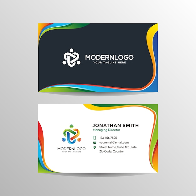 Modern colorful business card design with logo Premium Vector