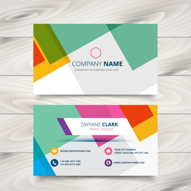 Modern colorful business card vector free download modern colorful business card free vector reheart Gallery