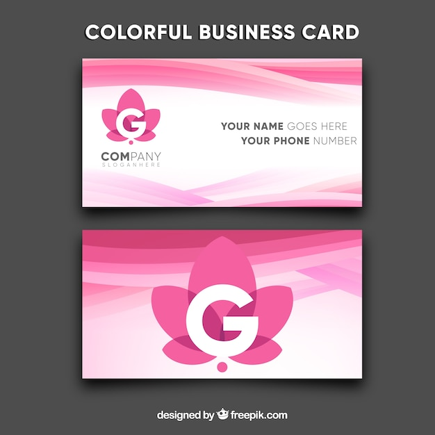 Modern and colorful business card Free Vector