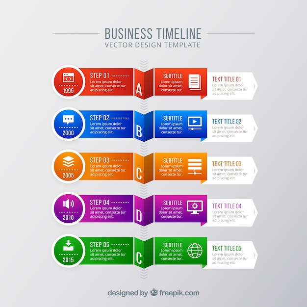 Modern colorful business timeline concept Free Vector