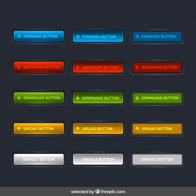 Modern colorful buttons collection Free Vector