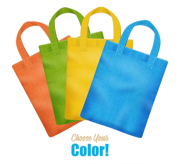 Modern colorful canvas tote bags collection Free Vector