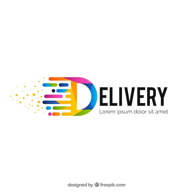 Modern colorful delivery logo template Free Vector