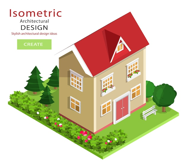 Modern colorful detailed isometric building . graphic  isometric  house with green yard. Premium Vector