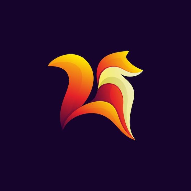 Modern colorful fox design illustration Premium Vector