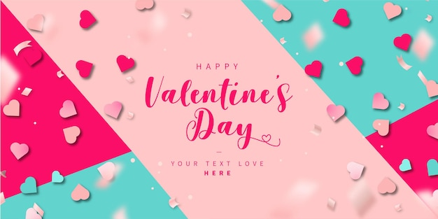 Modern colorful happy valentine's day background Free Vector