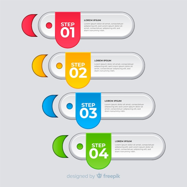 Modern colorful infographic steps template Free Vector