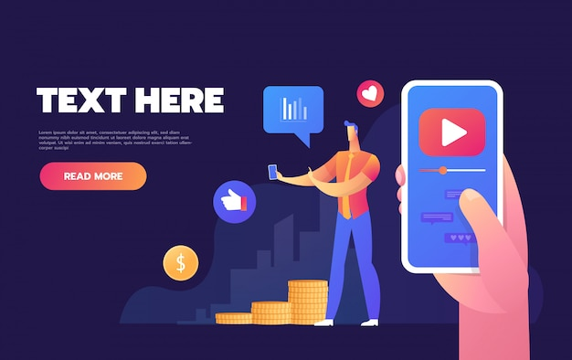 Modern colorful isometric , characters watching live stream on smartphone screen, male blogger broadcasting, reviewing new devices, Premium Vector
