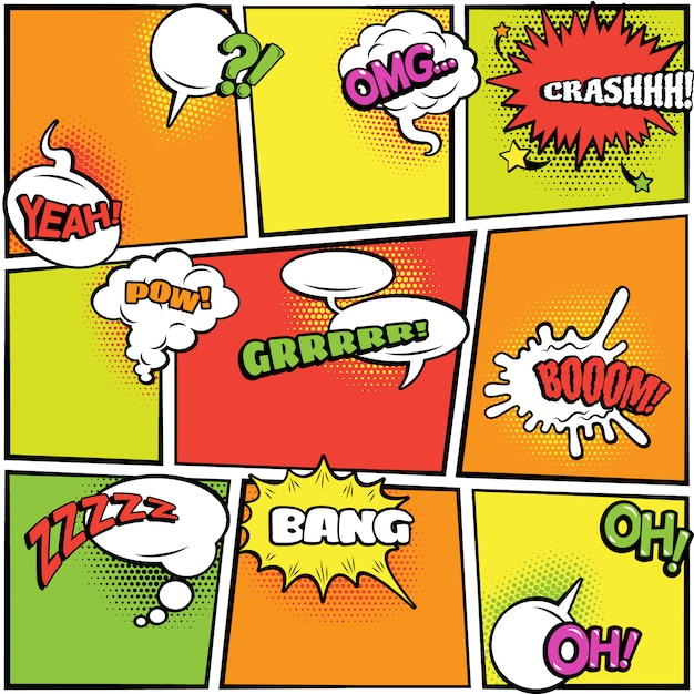 Modern colorful jagged and oval speech bubbles collection on bright checked background Free Vector