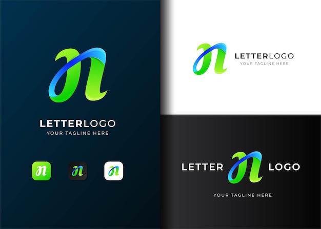 モダンなカラフルな文字nロゴテンプレートデザイン Premiumベクター