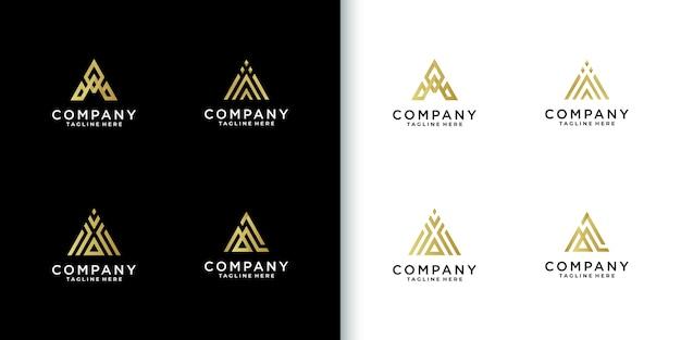 モダンなカラフルなモノグラム文字会社のロゴコレクション Premiumベクター