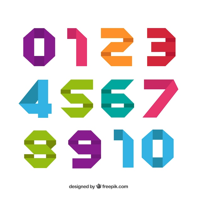Modern colorful number collection Free Vector