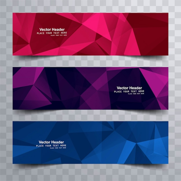 Modern colorful polygonal banners Free Vector