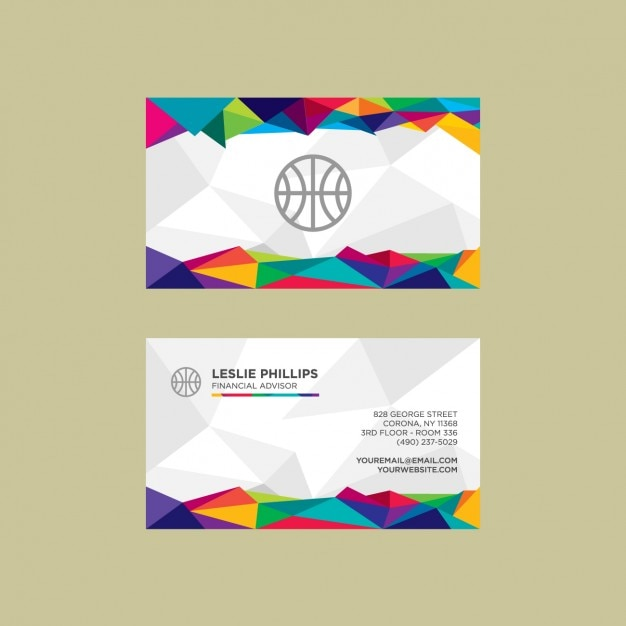 Modern and colorful polygonal visit card Free Vector