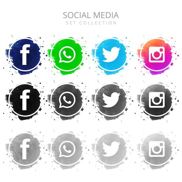 Modern colorful social media icons set design Free Vector