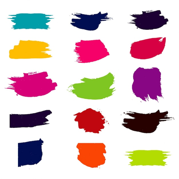 Modern colorful watercolor brush set Free Vector