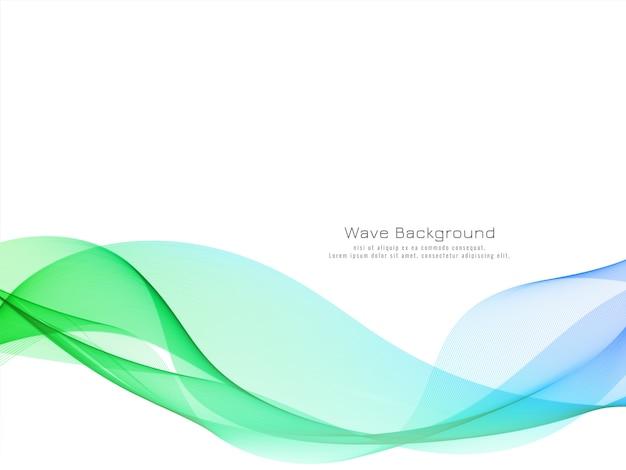 モダンなカラフルな波のデザインの背景ベクトル 無料ベクター