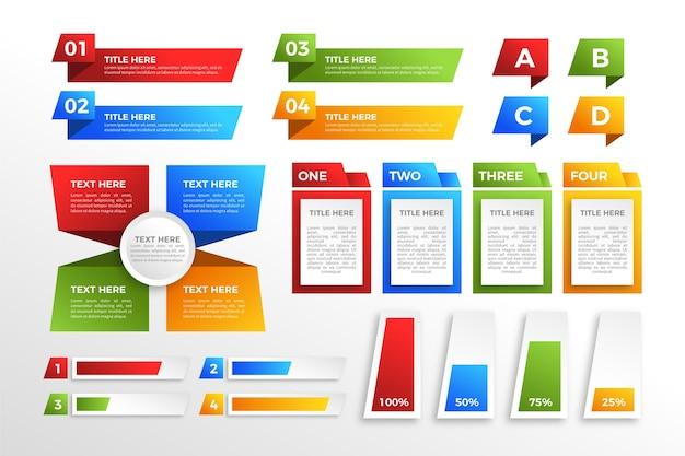 현대 화려한 그라데이션 infographic 요소 무료 벡터
