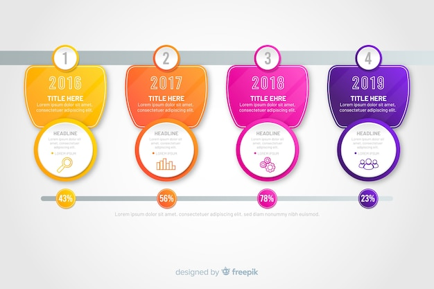 Modern colourful infographics steps Free Vector