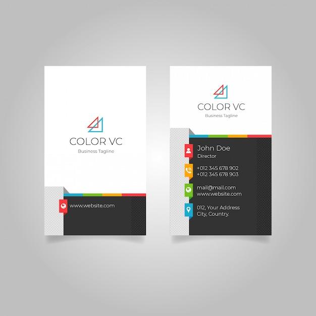 Modern colourful vertical business card Premium Vector