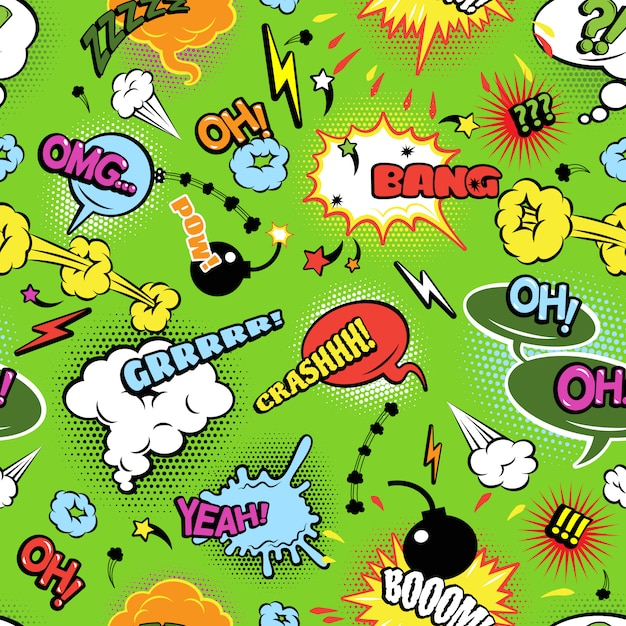 Modern comics background pattern with bombs lightening and jagged clouds speech bubbles Free Vector