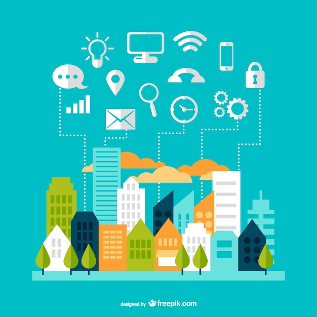 Modern communication cityscape design vector free download Blueprint designer free