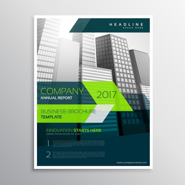 Modern company brochure template with grey skyscrapers