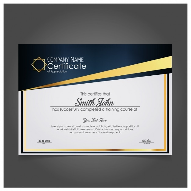 modern company certificate of appreciation vector free download