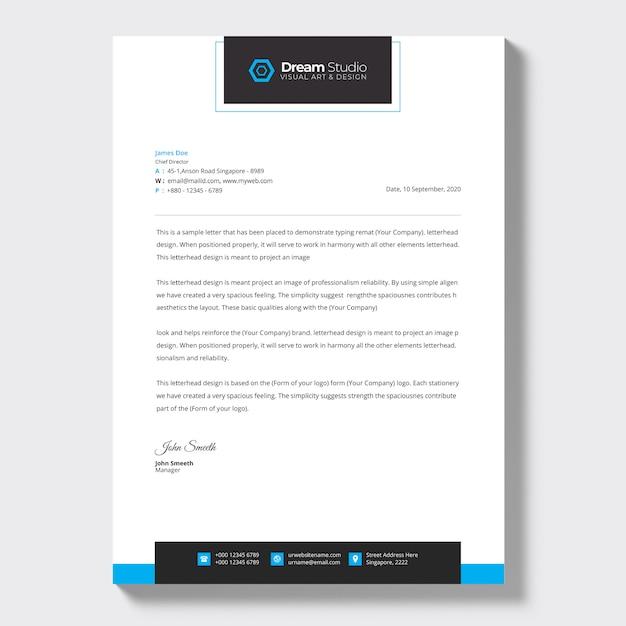 Modern company letterhead, letterhead template Free Vector
