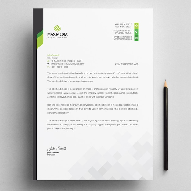 Modern company letterhead with green elements Premium Vector