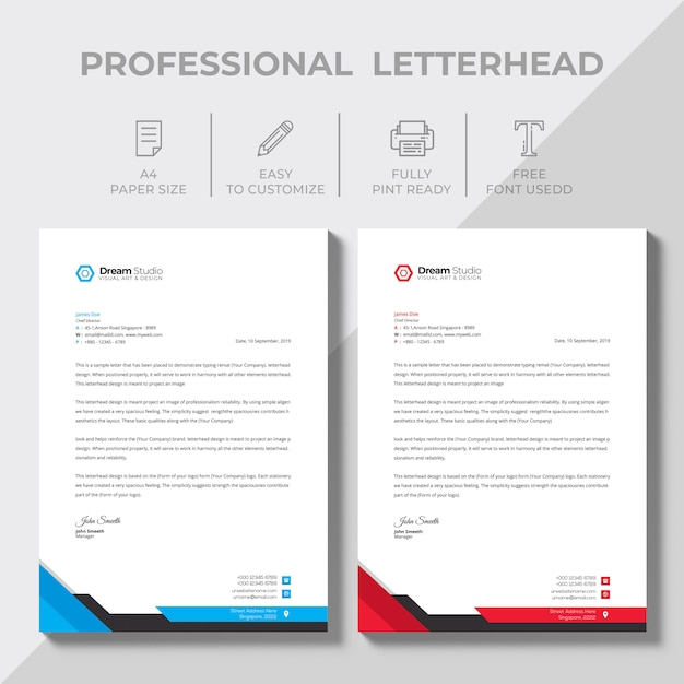Modern company letterhead Free Vector