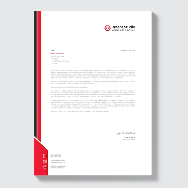 Modern Company Letterhead Vector  Premium Download