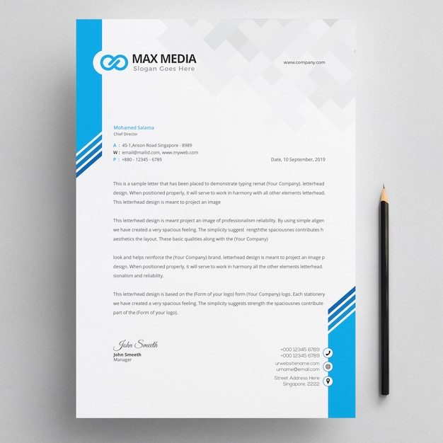 Modern company letterhead Premium Vector