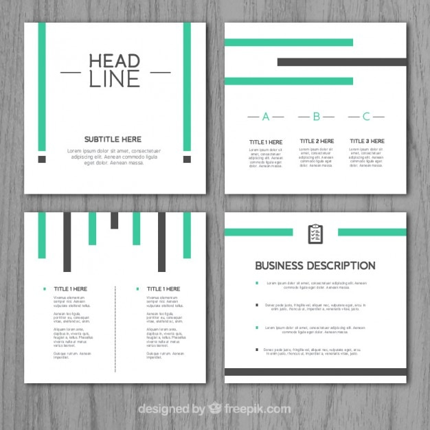 Modern company presentation with green and grey stripes