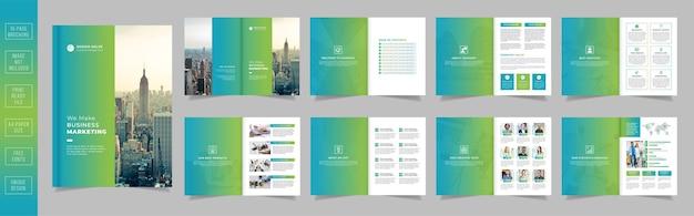 グラデーションの形をした現代の会社のプロフィールページパンフレットテンプレートデザイン Premiumベクター
