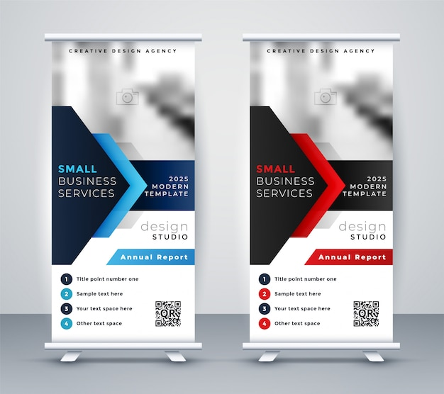 Modern company rollup standee banner in blue and red color Free Vector