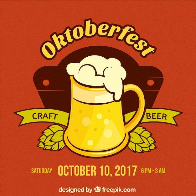 Modern composition for oktoberfest with beer mug