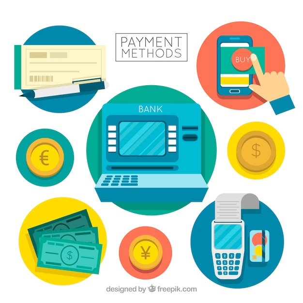 Modern composition with payment methods in circles