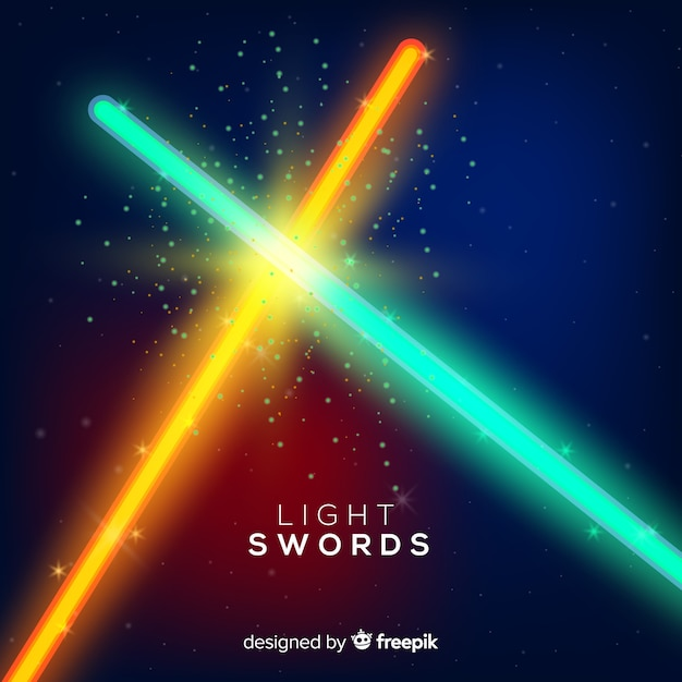 Modern composition with two crossed light swords Free Vector