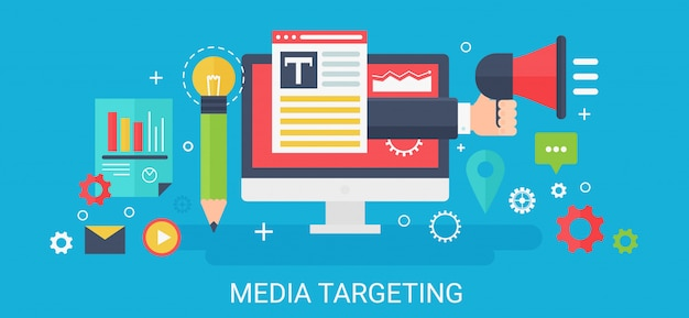 Modern  concept media targeting banner with icons and text. Premium Vector