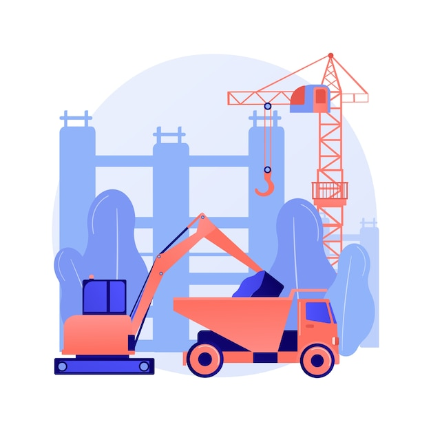Modern construction machinery abstract concept Free Vector