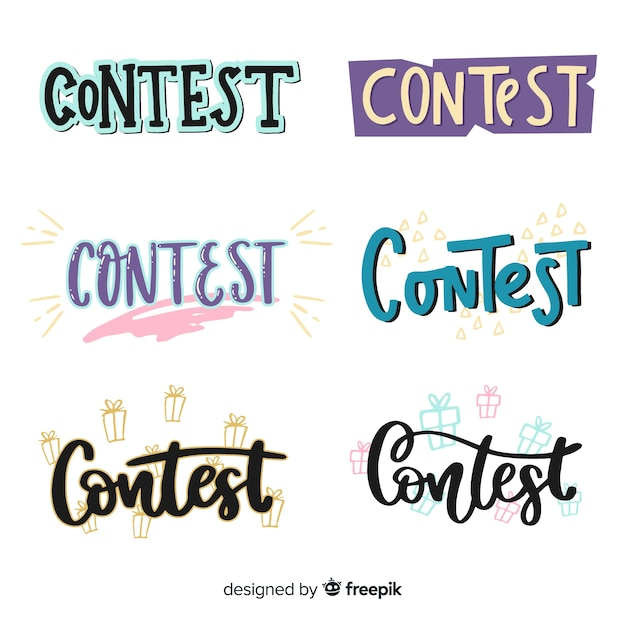Modern contest lettering with flat design Free Vector