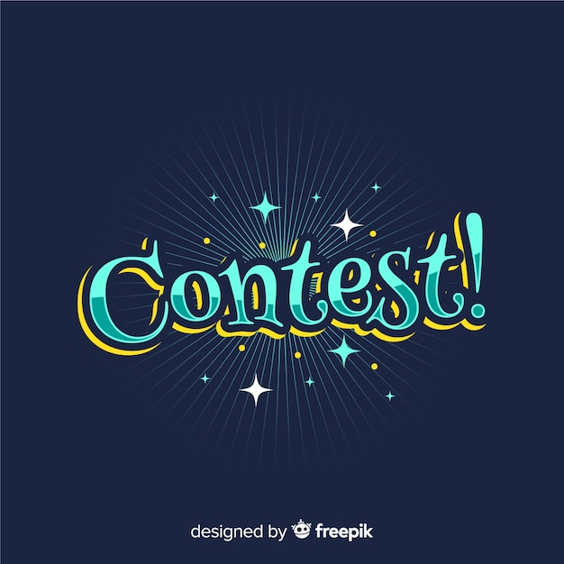 Modern contest lettering with flat desing Free Vector