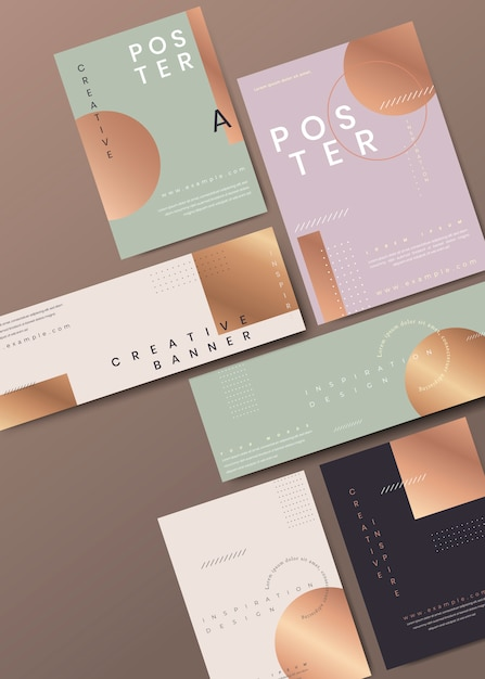Modern copper stationery set Free Vector