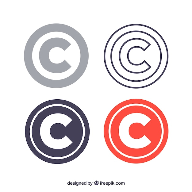 Modern copyright symbol template collection Free Vector