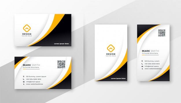 Современная корпоративная визитка в желтой теме Бесплатные векторы
