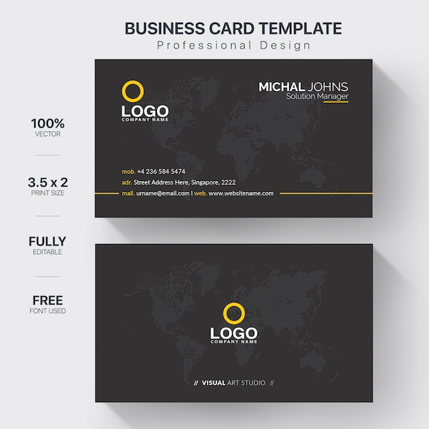 Modern corporate business card template Premium Vector