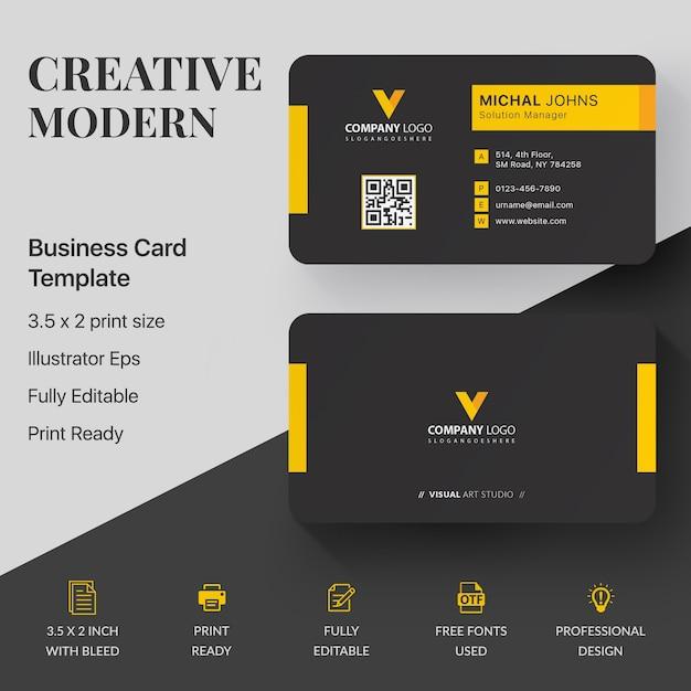 Modern corporate business card template Premium Vector